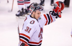Senior goaltender Ryan Massa waves the UNO fans one final time following the Mavericks' 4-1 loss to Providence in the 2015 Frozen Four. The Mavericks finished the season ranked fourth in both major college hockey polls, their highest finish ever. Courtesy: Richard T. Gagnon