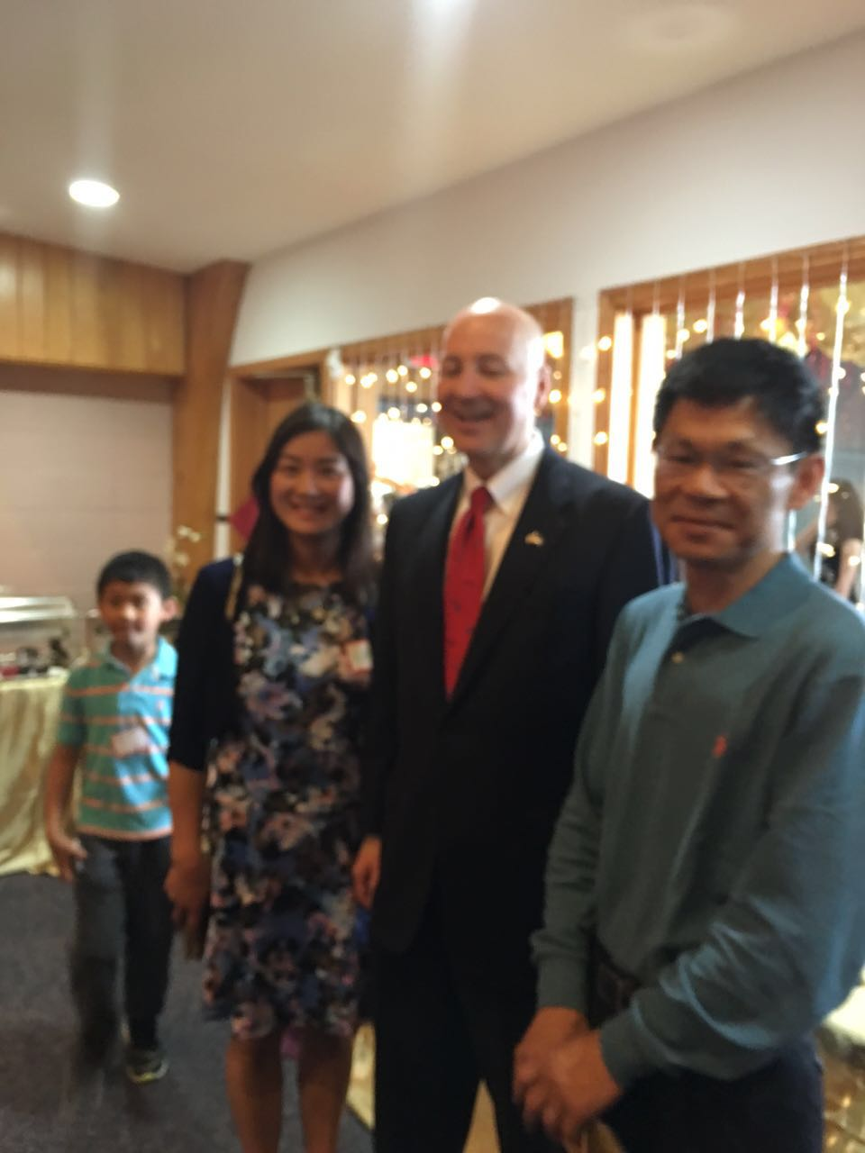 NE Chinese Center Opening Ceremony - Brian, Belinda , Alex with Nebraska Governor Pete Rickettsia